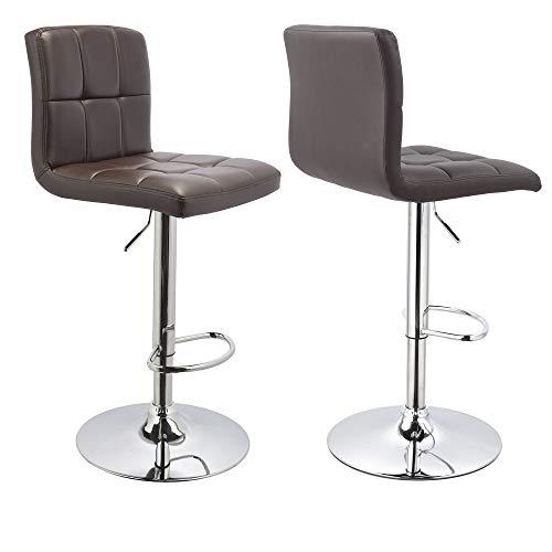Duhome Barhocker 2X Barstuhl Kunstleder BRAUN, Drehstuhl, Tresenhocker (Typ 9-451Y) Bar Sessel, gut gepolstert, Bodenschoner, mit verchromten Griff, höhenverstellbar, gut gepolstert mit Lehne, eckig