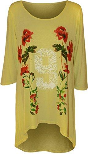 ... Farben - Größe 42-56 Gelb. WearAll - Damen Übergröße Blumen '9' Druck  3/4 Ärmel Dip Saum Top