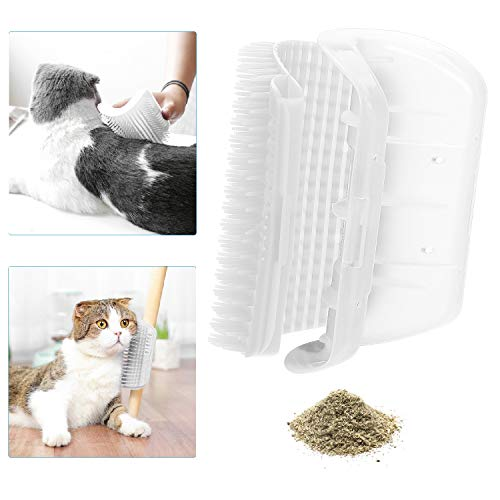 Qisiewell Katzen Self Groomer Weiß Selbst-Pflege Bürste Wand Ecke Massagekamm Katzenspielzeug - Langes/Kurzes Fell (Inklusive Klebstreifen Schrauben)