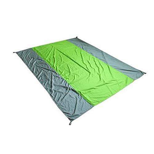 Campingbedarf Colorblock Lightweight Compact Blanket Sand Proof Wasserdichte Strand-Picknickmatte für draußen Große, überlappende Bodenmatte 240 x 145 cm ( Farbe : Green+Gray , Größe : 200 x 210 cm ) Colorblock-parka