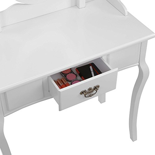 Beautify Dressing Table Stool And Mirror Bedroom Vanity Set With