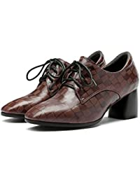 PLNXDM Zapatos De Cuero Reales Para Damas Con Cordones Mocasines De Tacón Medio Zapatos Casuales Inteligentes
