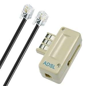 Connec'style Kit Filtre ADSL + Câble RJ11 m/m 5m Beige