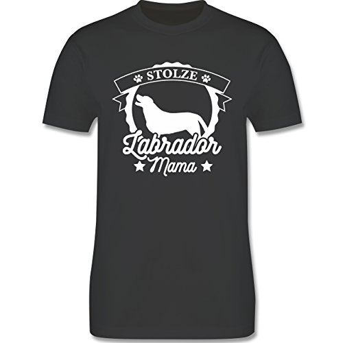 Shirtracer Hunde - Stolze Labrador Mama - Herren T-Shirt Rundhals Dunkelgrau