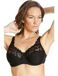 Soutien-gorge à armatures - dentelle jacquard - motif floral - femme - noir a16c4fefac9