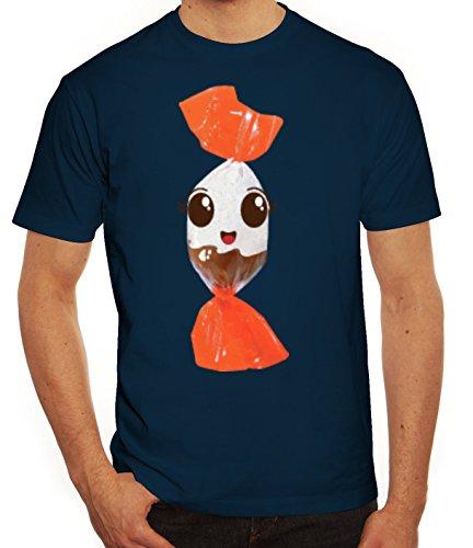 Fasching Verkleidung T-Shirt Gruppen & Paar Kostüm Schoko BonBon Kostüm, Größe: M,Dunkelblau (Männer, Gruppe Halloween-kostüme)
