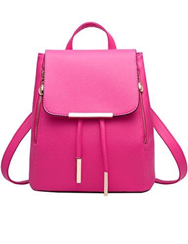 Menschwear PU Zaino Satchel Daypack sacchetto di scuola Nero 2 Rosa 1