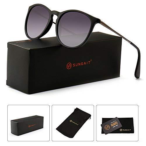 SUNGAIT Sunait Vintage Runde Sonnenbrille für Damen, klassischer Retro-Stil, Schwarz (Polarized Grey Gradient Lens/Black Frame), Freie Größe