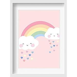 """Bilder Kinderzimmer Poster""""Regenbogen (rosa)"""" – hochwertiger Druck auf Qualitäts-Papier, pastellfarben (ungerahmt) …"""