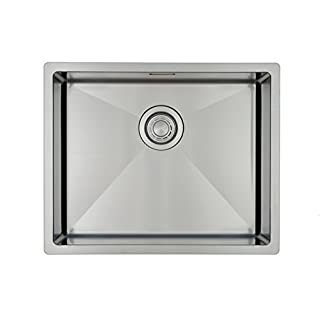 Kitchen Sink Mizzo Design 5040- One/Single Bowl Square Stainless Steel Kitchen Sink- For both undermount and flushmount installation - Satin finish