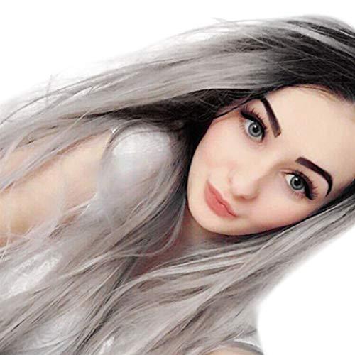 Hunpta@ 1Pack Longue perruque synthétique multicolore synthétique pour femmes (Gray)