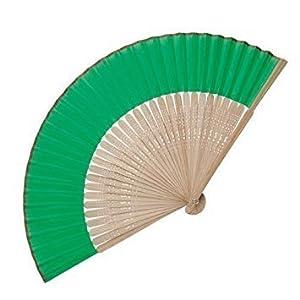 eBuyGB - Abanico de madera de bambú, accesorio de boda y regalo, color verde