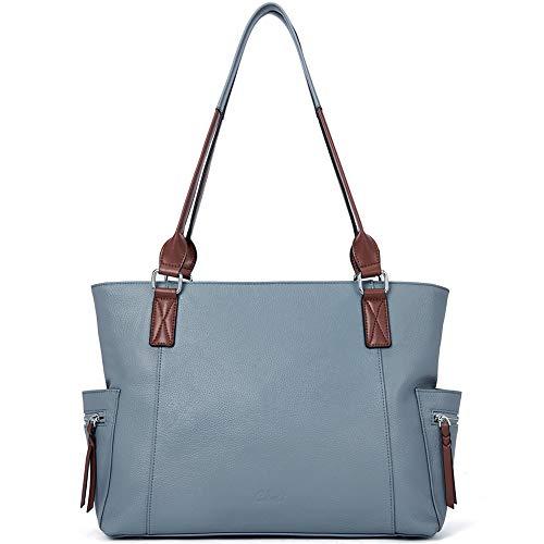 CLUCI Echtes Leder Damen Handtaschen Designer Groß Laptoptasche Mode Tote Henkeltaschen für Frauen blau