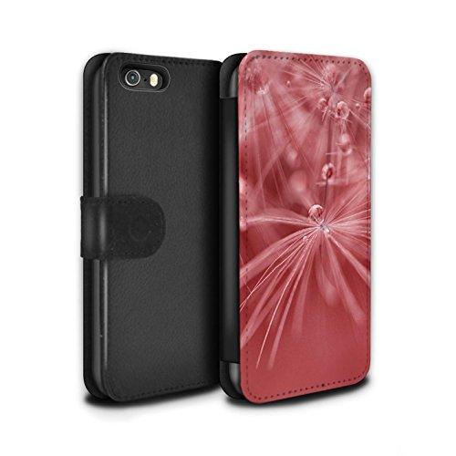 Stuff4 Coque/Etui/Housse Cuir PU Case/Cover pour Apple iPhone SE / Fleur Violet Design / Gouttes de Fées Collection Fleur Rouge