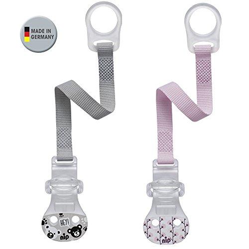 Nip, nastro per ciuccio con anello, set da 2 pezzi, per bambine, chiusura comoda per tutti i ciucci senza anello, anello di fissaggio in silicone flessibile, prodotto in germania