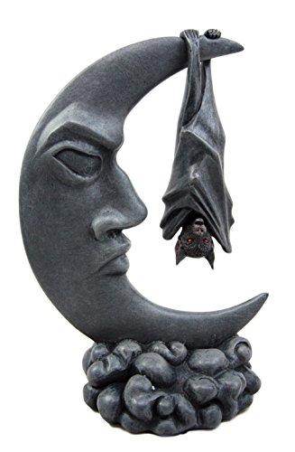 Atlantic Sammlerstücke Nocturnal Fledermaus Hängen über der Celestial Crescent Moon Deko Figur 20,3cm H - Crescent-kollektion