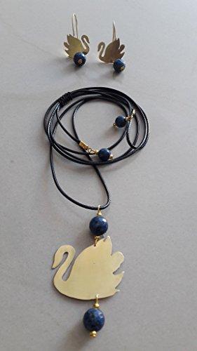 Handgefertigte Ohrringe und Halskette mit Anhänger Schwan aus Messing, Halbedelstein Lazi Lazuli (Schnur-anhänger Messing)