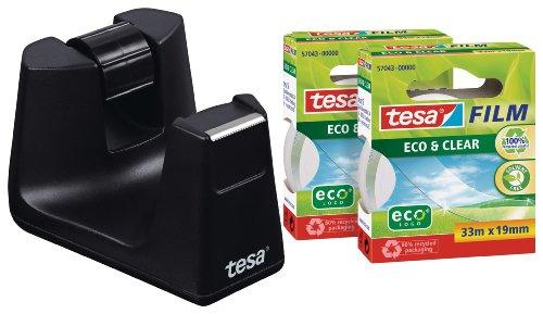 Tesa 53905 Tischabroller Easy Cut SMART schwarz 19mm x 33m inkl.2Ro