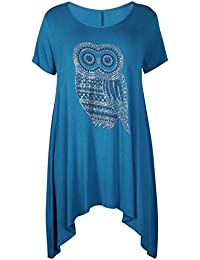Womens Owl Printed Ladies Stretch Round Neckline Sequin Stud Uneven Hanky Hem Long Swing T-Shirt Top Plus Size