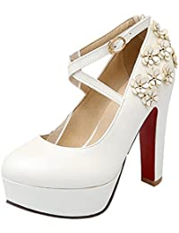 f88172072fa5 YE Damen Blockabsatz High Heels Plateau Pumps mit Riemchen und Blume  Schnalle Elegant Party Schuhe