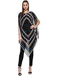Taurus Women's Georgette Blue Kaftan Top