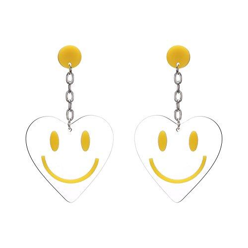 (Lureme Retro Transparent mit Kette Smiley Gesicht baumeln Ohrringe Stud-Herz (er005560-1))