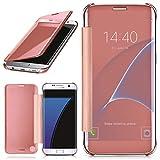 moex Samsung Galaxy S7 Edge | Hülle Transparent TPU Void Cover Dünne Schutzhülle Rosé-Gold Handyhülle für Samsung Galaxy S7 Edge Case Ultra-Slim Handy-Tasche mit Sicht-Fenster