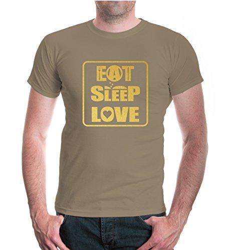buXsbaum® T-Shirt Eat Sleep Love Khaki-Gold