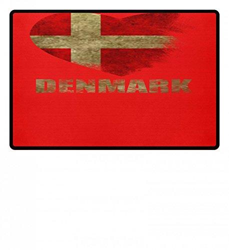Shirtee Hochwertige Fußmatte - Dänemark Herz I Love Denmark