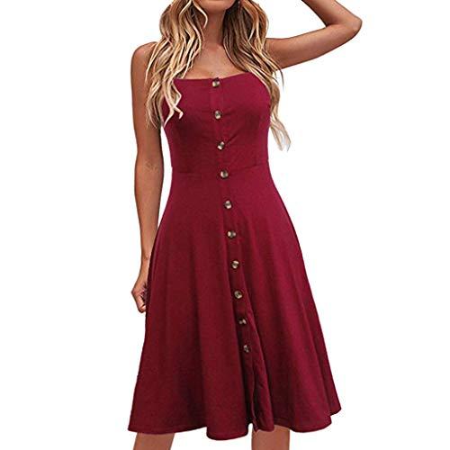 Floweworld Damen Sleeveless eine Linie kleidet beiläufiges festes Knopf-dünnes Kleid-Elegante Riemen-Partei-langes Kleid - Schwarze Folien Clogs
