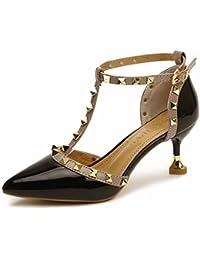 YUCH Chaussures Femmes de Tous Les Jours Confortable Enfilable A Souligné La Bouche Peu Profonde,Black,35