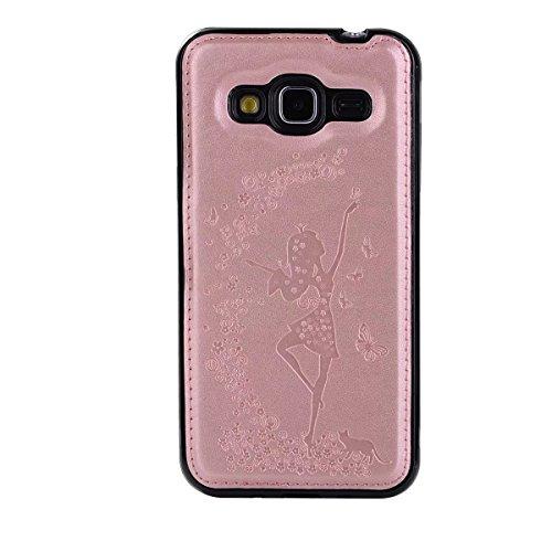 Abnehmbare 2 in 1 Crazy Horse Texture PU Ledertasche, Fairy Girl Embossed Pattern Flip Stand Case Tasche mit Lanyard & Card Cash Slots für Samsung Galaxy J3 J310 ( Color : Rosegold ) Rosegold