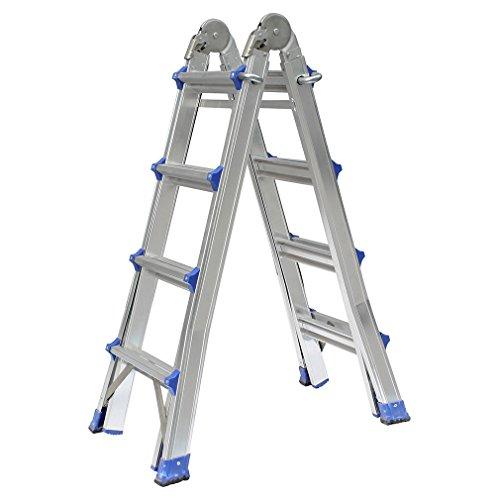 OUTAD Teleskopleiter Aluminium Multifunktionsleiter Aluleiter Klappleiter Anlegeleiter Bockleiter Schiebeleiter höhenverstellbar beidseitige Steh und Treppenleiter (4.0m / 4x4 Sprossen)