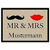 Fußmatte 'Mr. & Mrs. ' Inkl. Ihrem Nachnamen - Personalisierte Schmutzfangmatte, Fußmatte:60 x 40 cm