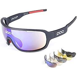 Gafas Polarizadas Deporte Bici Anti UV400 Gafas para Correr Running Antivaho con 5 Lentes Intercambiables Adaptadas También A Ciclismo Bicicleta De Montaña MTB,A