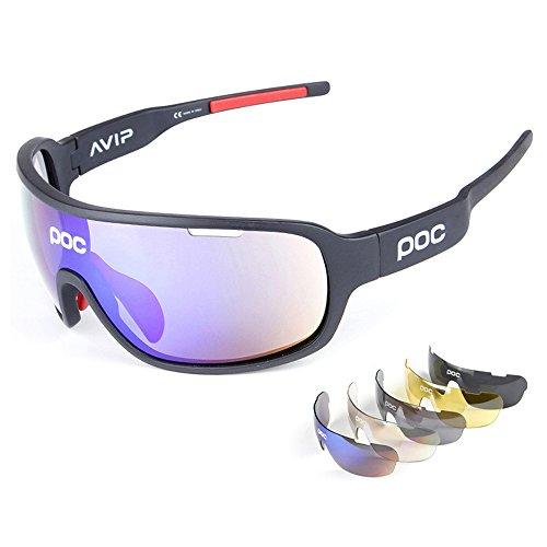 Occhiali da sole sportivi, anti-uv 400 protezione ciclismo occhiali da sole con 5 lenti intercambiabili,uomo e donna antivento aviatore specchio per mtb,bici,moto,trekking casual,a