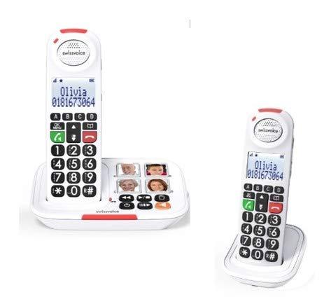 Swissvoice Xtra 2155 Duo Schnurloses Seniorentelefon Freisprechen, Foto-Tasten, Anrufbeantworter, Op
