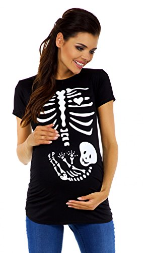 mstands-Oberteil Top T-Shirt witzige Skelettaufdruck - 085c (Schwarz, 40/42) (Skelett Schwangerschaft Top)