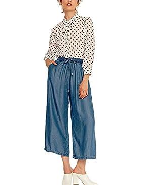Yacun Pantalones De Pierna Ancha, Cintura Elastica con Cordon Pantalones Casuales