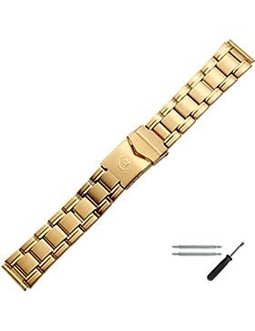 Uhrenarmband 18mm Edelstahl Gold - Inkl. Federstege / Werkzeug - Mit Faltschließe - Inkl. Wechselanstoß 20mm -...