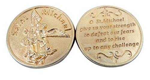Gold straffen Boden Erzengel St. Michael Pocket Token Medaille mit Gebet, 11/20,3cm