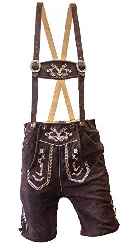 Almwerk Herren Trachten Lederhose kurz schwarz oder braun Modell Hipster, Farbe:Braun;Lederhose Größe Herren:46 (Hose Land Wildleder)