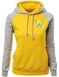 6c56202fffc8b Alan Walker Sweats à Capuche Décontractée Femme Sweat-Shirts Manche Longue  Pullover Sport T Shirt