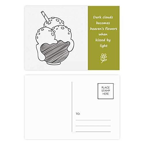Postkarten-Set mit schwarzer Schüssel, Kekse, Eiskugeln, Poesie, 20 Stück