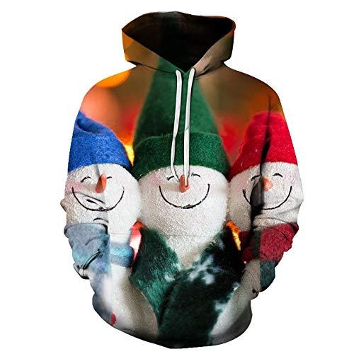Jujiaclothing Pullover Scollo Rotondo con Colori a Contrasto Uomo Magliette di Natale Maglione Babbo Natale Maglione Vintage Felpa Uomo con Cappuccio 3D Stampa Pullover Uomo Casual T-Shirt