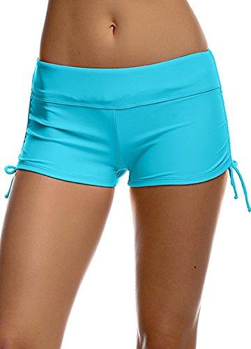 Damen UV Schutz Blau Wassersport Schwimmen Bikinihose Badeshorts Schwimmshorts XL