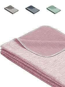 Flauschige Babydecke aus 100% Bio Baumwolle - kuschelige Baumwolldecke hergestellt in DEUTSCHLAND. Ideal als Baby Decke, Erstlingsdecke, Einschlagdecke oder Kuscheldecke - Rosa für Mädchen