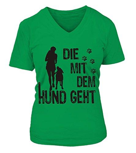 HUNDE Motiv T-Shirt: Die mit dem Hund geht (Frau und Hund 1) - Damen Shirt Größe S bis XXXXL - in versch. Farben irisch grün