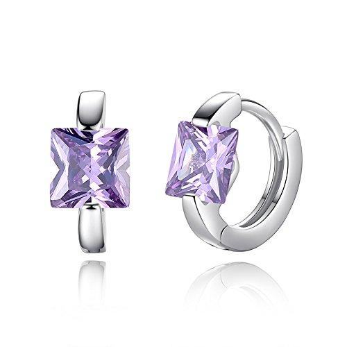 YAZILIND mode schmuck hoop ohrringe platin überzogene elegante platz zirkon charme Zubehör für frauen mädchen (lila)