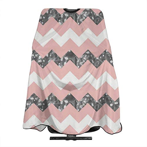 Pinkish White Zigzag Pattern with Sparkly Silver Personalized Custom Professional Hair Salon Apron, Polyester Hair Shawl 55